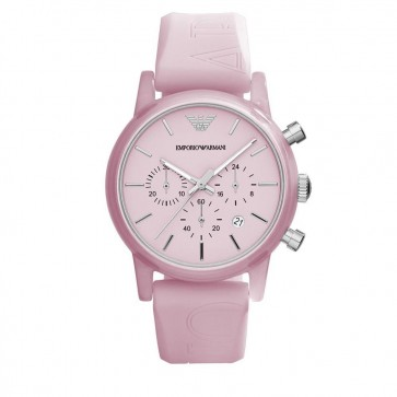 Emporio Armani Unisex Chronograph Watch Light Pink Silicone Strap Pink Dial AR1056