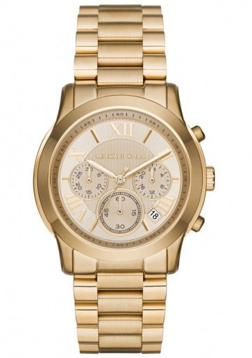 Michael Kors  Cooper Chronograph Womens Ladies Watch Gold Stainless Steel Bracelet gold Dial MK6274