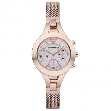 Emporio Armani Ladies Rose Gold PVD Stainless Steel Bracelet White Dial AR7391