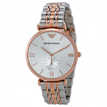 Emporio Armani Ladies Watch Two Tone Bracelet Silver Dial AR1677
