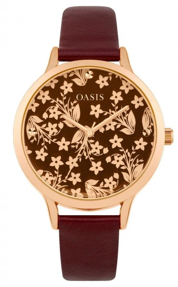 Oasis Womens Ladies Quartz Wrist Watch Rose Gold Dial Red Strap B1583