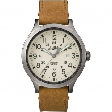 Timex Men's Gent's Quartz Watch With Cream Dial Brown Strap TW4B06500