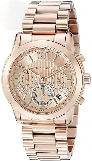 Michael Kors Cooper Chronograph Womens Ladies Watch Rose Gold Stainless Steel Bracelet Rose Gold Dial MK6275