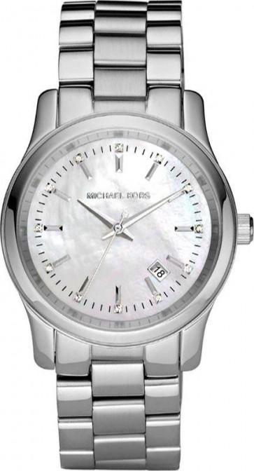 Michael Kors Runway Womens Ladies Watch Silver Stainless Steel Bracelet White Dial MK5338