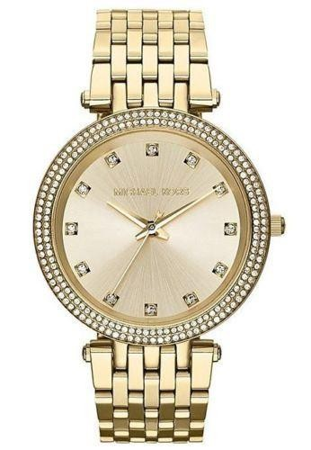Michael Kors Ladies Darci Watch Gold Dial & Bracelet Crystal Detail MK3216