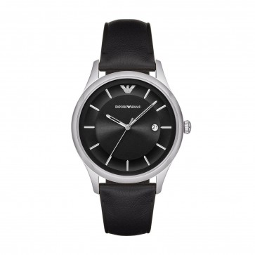 Emporio Armani Mens Gents Watch Black Leather Strap Black Dial AR11020