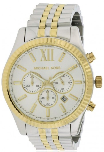 Michael Kors Mens Chronograph Watch Two Tone Stainless Steel Bracelet Silver Dial MK8344