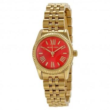 Michael Kors Womens Watch Gold PVD Bracelet Red Dial MK3284