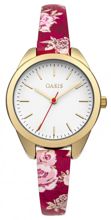 Oasis Womens Ladies Wrist Watch White Face Red Floral Strap  B1582