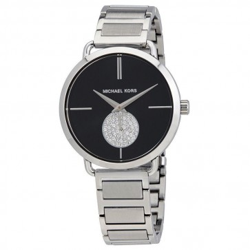Michael Kors Portia Black Dial Ladies Womens Stainless Steel Watch MK3638