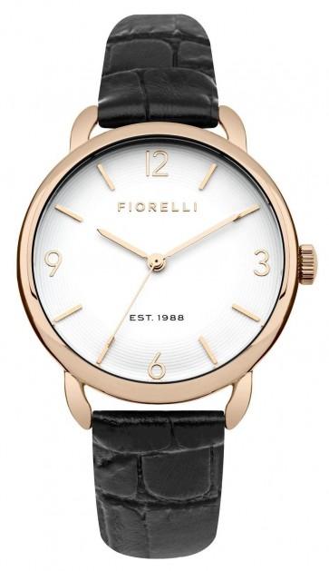 Fiorelli Ladies Watch Black Leather StrapWhite Dial FO031BRG