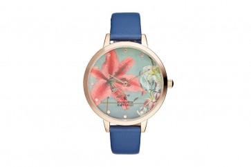 Charlotte Raffelli Ladies Watch Flower Dial Blue Leather Strap CRF012