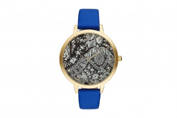 Charlotte Raffelli Ladies Watch Black & Silver Patterned Dial Blue Leather Strap CRR002