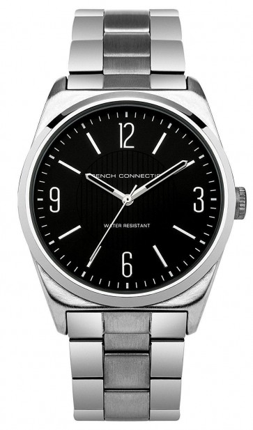 French Connection Mens Wrist Watch Black Face Silver Strap SFC102BM