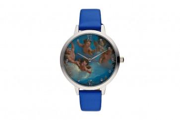 Charlotte Raffelli Ladies Watch Cupid Motif Dial Blue Leather Strap CRR007