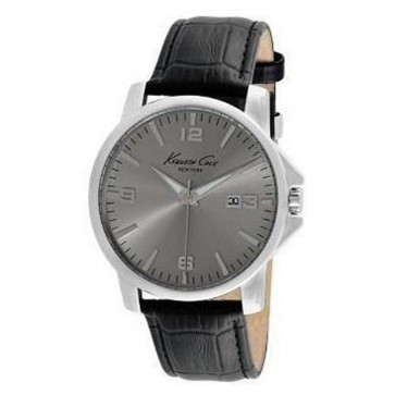 Kenneth Cole Mens Gents Black Croco Strap Wrist Watch KC1865