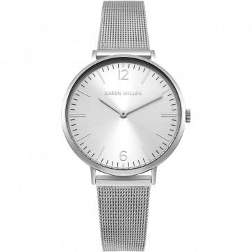 Karen Millen Womens Ladies Wrist Watch Brown Strap White Face KM163SM