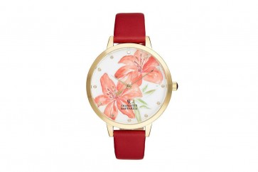 Charlotte Raffaelli Ladies Watch Floral Dial Brown Leather Strap CRF017