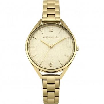 Karen Millen Womens Ladies Wrist Watch Black Strap White Face KM162GM