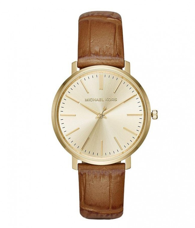 Michael Kors Womens Jaryn Rose Gold Tone Brown Leather Wrist