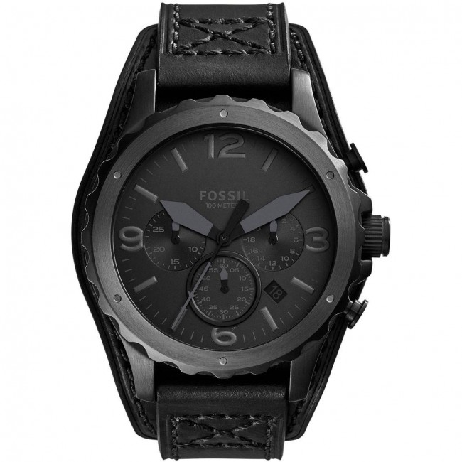 Fossil Mens Nate Chronograph Watch Black Leather Strap Black Dial JR1510.  Zoom 636b736ef5f