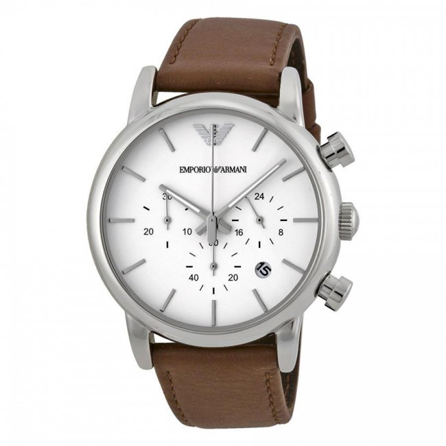 a7936cce4a17 Emporio Armani Mens Chronograph Watch Brown Leather Strap White Dial  AR1846. Zoom