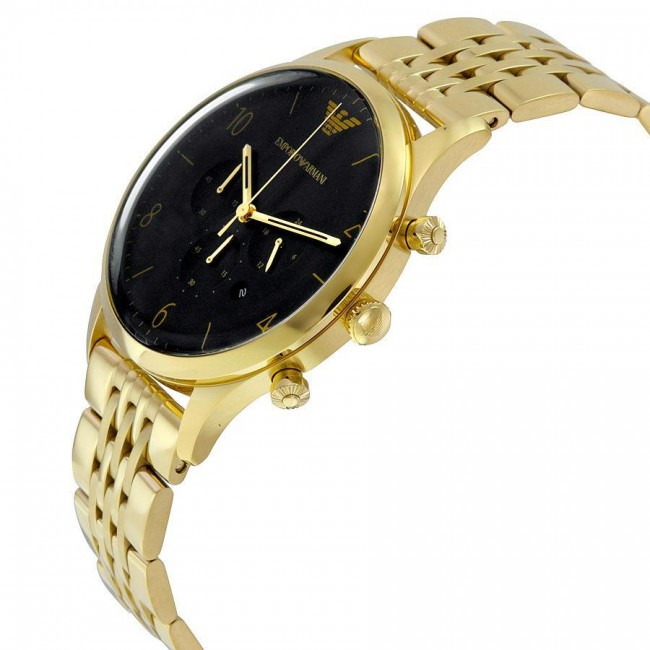 ffdfb484b Emporio Armani Mens Chronograph Watch Gold PVD Plated Bracelet Black Dial  AR1893. Zoom