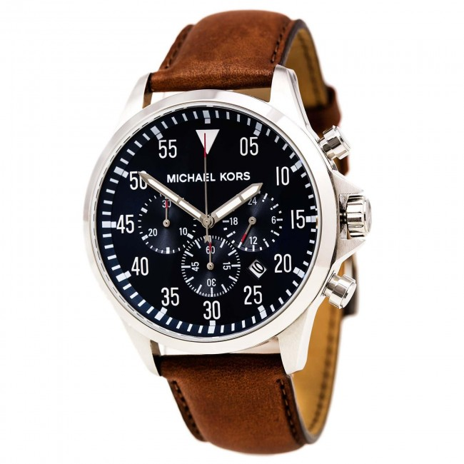 a9f56bb78 Michael Kors Mens Gage Chronograph Watch Brown Leather Strap Blue Dial  MK8362. Zoom