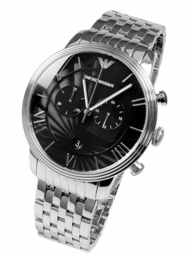 a571501df Emporio Armani Mens Chronograph Watch Stainless Steel Bracelet Black Dial  AR1617. Loading... Zoom