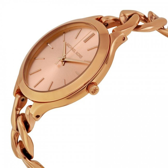 a3ccc57aa4a1 Michael Kors Ladies Runway Watch Rose Gold PVD Curb Link Bracelet MK3223.  Zoom
