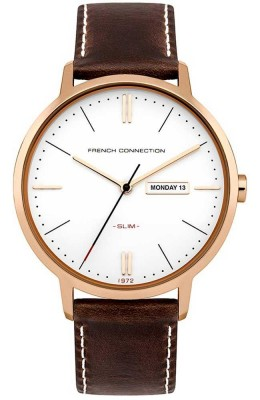 French Connection Mens Gents Watch Silver Dial Brown Leather Strap FC1262TRG
