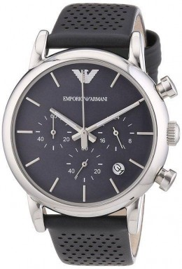 Emporio Armani Mens Chronograph Watch Grey Strap Grey Dial AR1735