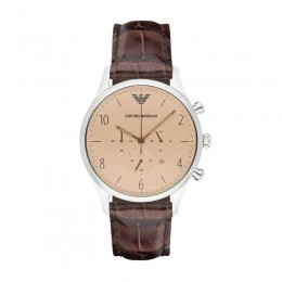 Emporio Armani Mens Gents Chronograph Watch Brown Leather Strap Brown Dial AR1878