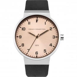 French Connection Mens Gents Watch Silver Dial Gold Face Leather Strap FC1286B