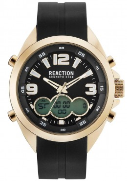 Kenneth Cole Reaction Black & Gold Mens Gents Wrist Watch RK50488019