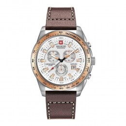 Swiss Military Mens Gents Crusader Silver & Brown Wrist Watch 06-4225.04.001.09
