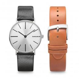 LambrettaCesare 42 Silver Black/Cognac Strap Duo-set Mens Gents Wrist Watch 2181DUO1