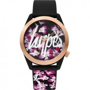 Hype Ladies Womens Black & Gold Floral Wrist Watch HYL022BRG