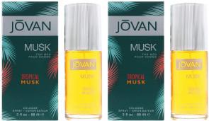 Jovan Mens Gents Musk Tropical Musk 88ml EDT Aftershave Cologne 2 Pack