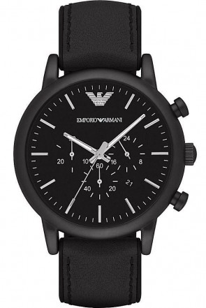 Emporio Armani Mens Chronograph Watch Black Leather Strap Black Dial AR1970
