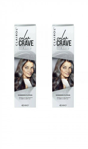CLAIROL LADIES WOMENS COLOR CRAVE 45ML WASHOUT HAIR MAKEUP SHIMMERING PLATINUM 2 PACK