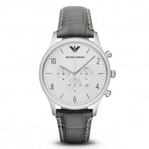 Emporio Armani Mens Gents Chronograph Watch Grey Leather Strap Silver Dial AR1861