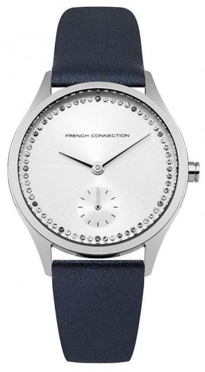 French Connection Womens Ladies Blue Leather Strap Silver Face Watch FC1272U