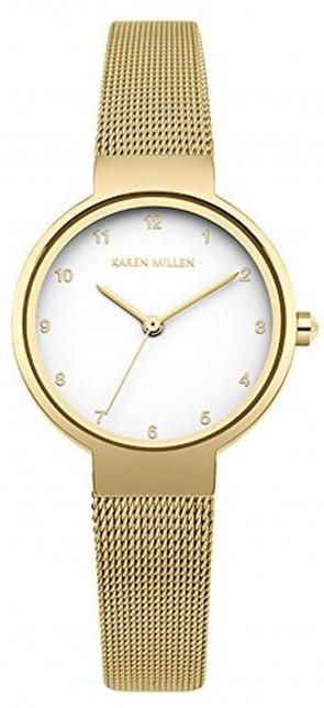 Karen Millen Womens Wrist Watch White Dial Gold Strap KM160GM