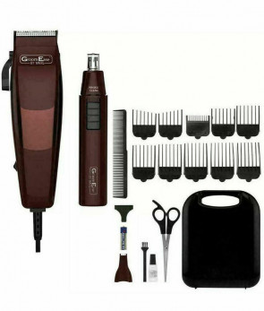 Wahl Mens Gents Groom Ease Hair Clipper & Nose/Ear Trimmer Maroon 18 Piece Gift Set