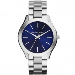 Michael Kors Runway Ladies Stainless Steel Bracelet Blue Dial MK3379