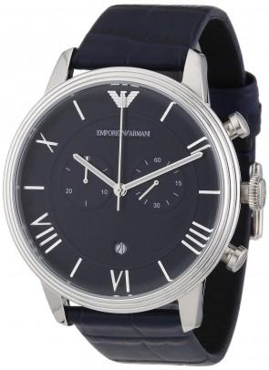 Emporio Armani Mens Chronograph Watch Blue Strap Blue Dial AR1652