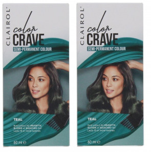 Clairol Ladies Womens Color Crave 60ml Hair Colour Teal 2 Pack