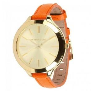 Michael Kors Thin Runway Ladies Watch Gold Dial Orange Strap MK2275