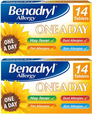 Benadryl Allergy One a Day 10 mg Hay Fever Pet Skin Allergies 28 Tablets 2 Pack